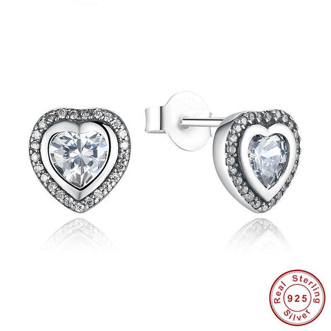 Luxury Sterling Silver Cubic Zirconia Heart Earrings - PB and Apple Jelly