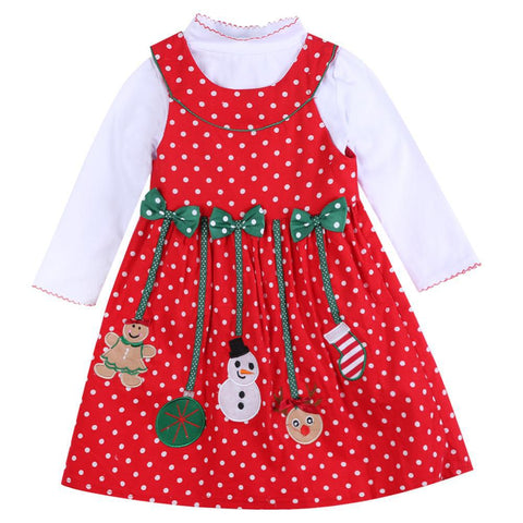 Red Polka Dotted Christmas Dress (Sizes 2T-6) - PB and Apple Jelly
