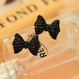 Black Crystal Bow Stud Earrings - PB and Apple Jelly