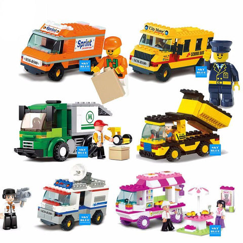 Building Block Vehicles and Mini-Figures