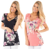 Floral Criss-Cross V-Neck Tees (US Sizes S-5XL) - PB and Apple Jelly