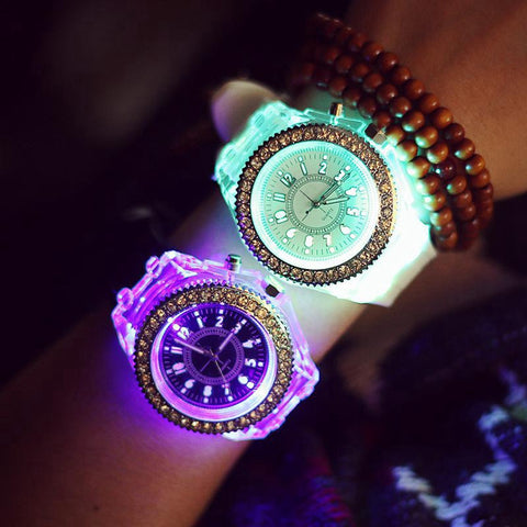Luminous LED Rhinestone Silicone Watches - PB and Apple Jelly
