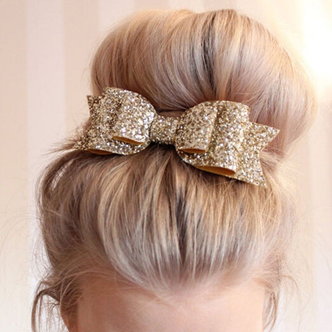 Large Sequin Bow Barrette - PB and Apple Jelly