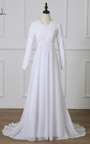 Long-Sleeved Lace Bodice Gown with Lovely Chiffon Train (US Sizes 2-26W) - PB and Apple Jelly