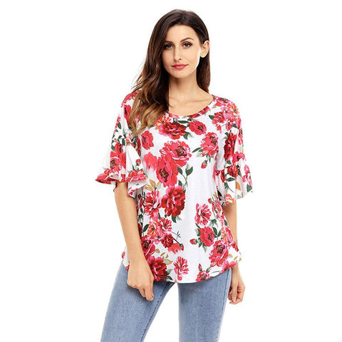 Loose Floral Ruffle-Sleeved Tops (US Sizes S-XXL) - PB and Apple Jelly
