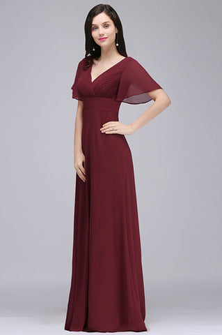 Floor-Sweep Chiffon V-Neck Evening Gown (US Sizes 2-16) - PB and Apple Jelly
