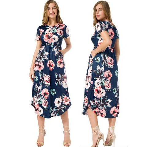 Image of 5 Colors Mid-Calf Short-Sleeved Soft Floral Dresses with Pockets (US Sizes 4-14+) - PB and Apple Jelly
