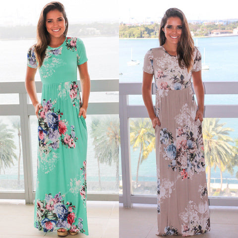 Green/Tan Soft Floral Maxi Dresses with Pockets (US Sizes 2-20) - PB and Apple Jelly