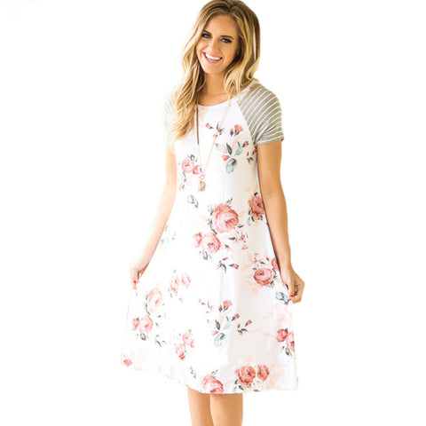 Knee-Length Loose Floral Dresses with Striped Sleeves (US Sizes S-XL) - PB and Apple Jelly