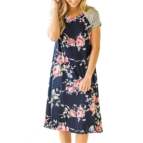 Image of Knee-Length Loose Floral Dresses with Striped Sleeves (US Sizes S-XL) - PB and Apple Jelly