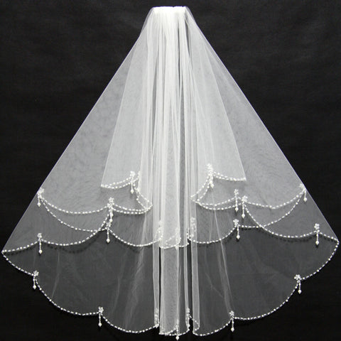 2-Layer Ruffled Tulle Veil with Beaded Edges - PB and Apple Jelly