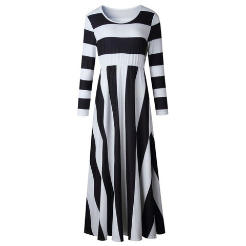 Flattering Wide-Striped Maxi Dresses with Pockets (US Sizes 4-16)