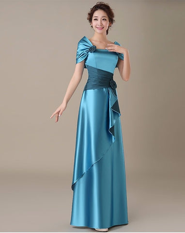 Shiny Satin Formal Gowns with Rose Detailing (US Sizes 2-16) - PB and Apple Jelly