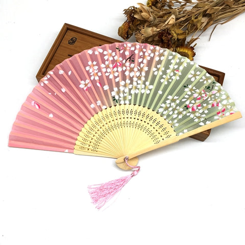Delicate Cherry Blossom Gradient Silk Bamboo Folding Chinese Fan - PB and Apple Jelly
