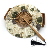 Delicate Round Floral-Print Silk Bamboo Folding Chinese Fan - PB and Apple Jelly