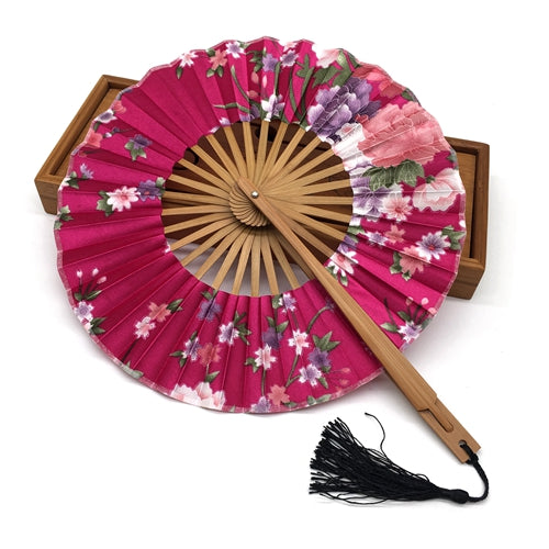 delicate round floral print silk bamboo folding chinese fan pb and