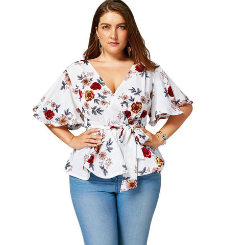 Floral Flare-Sleeved Peplum Blouse (US Sizes 14-22) - PB and Apple Jelly