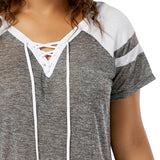 Lace-Up Raglan V-Neck Tees (US Sizes 14-22) - PB and Apple Jelly
