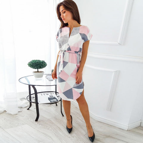 Geometric Print Dresses with Sash (US Sizes XXS-2XL) - PB and Apple Jelly
