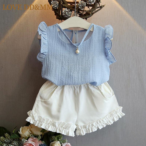 Chiffon Blouse with Pearl and Shorts  (US Sizes 3T-7) - PB and Apple Jelly