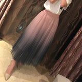 Fabulous Gradient Pleated Tulle Skirts (Stretch to 41.7 Inches)