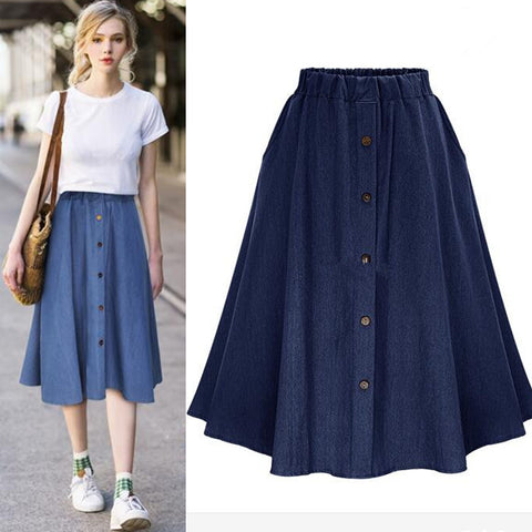 *Two Styles* Midi Denim Skirts with Pockets (US Sizes XS-2XL) - PB and Apple Jelly