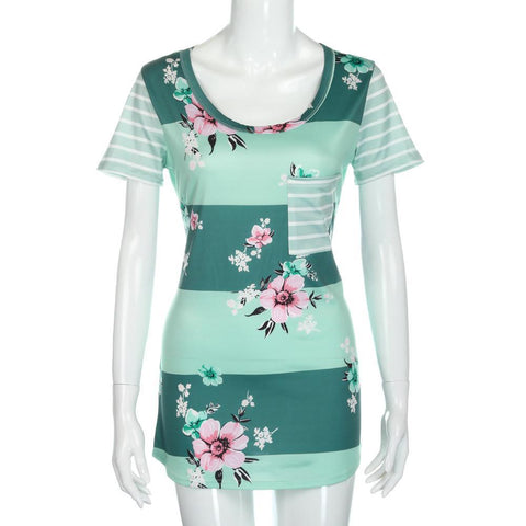 Floral Striped Tunics with Pocket (US Sizes S-XL) - PB and Apple Jelly