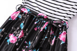 Beautiful Striped Floral Maxi Dresses with Pockets and Bow (US Sizes S-2XL)