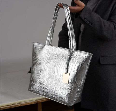Shiny Crocodile Skin Print PU Leather Tote Bag - PB and Apple Jelly