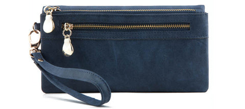 High Capacity PU Leather Zipper Wristlet Wallet - PB and Apple Jelly