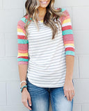 Striped Baseball Tees with Colorful Sleeves (US Sizes XS-XL) - PB and Apple Jelly