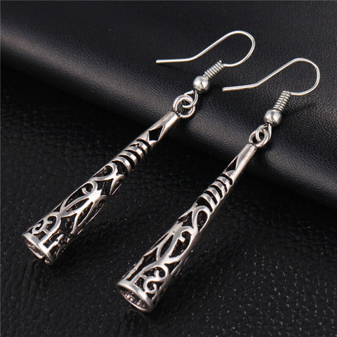 Antique Silver Hollowed Dangle Earrings