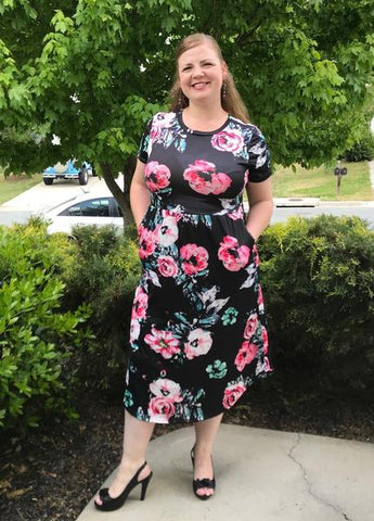 Image of 5 Colors Mid-Calf Short-Sleeved Soft Floral Dresses with Pockets (US Sizes 4-14) - PB and Apple Jelly