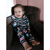 Floral/Striped Hooded Sweatsuit (Sizes 3 month-4T)