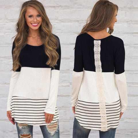 Cute Long Sleeve Patchwork Tunic with Lace Stripe (US Sizes XS-L)