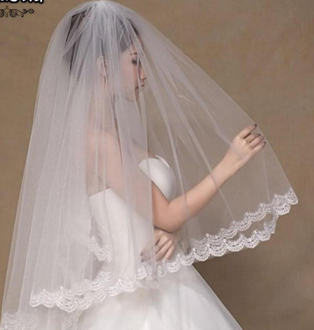 2-Layer Tulle Wedding Veil with Lace Edges - PB and Apple Jelly