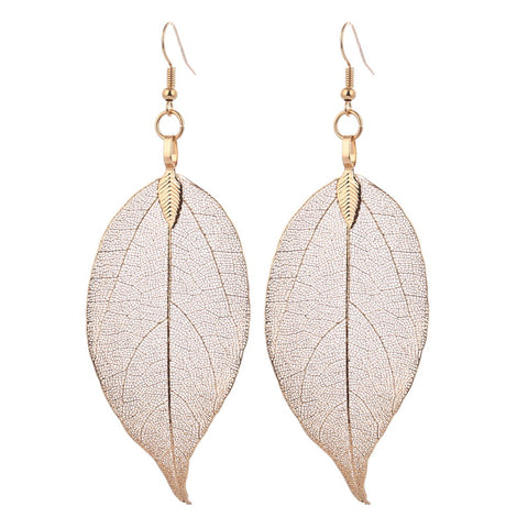Real Leaf Big Dangle Earrings - PB and Apple Jelly