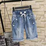 Trendy Elastic-Waist Jean Shorts (US Sizes M-3XL) - PB and Apple Jelly