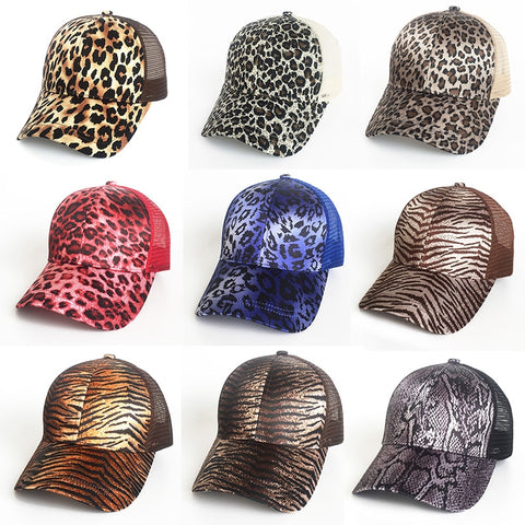 Bold Animal Print Messy Bun Baseball Caps