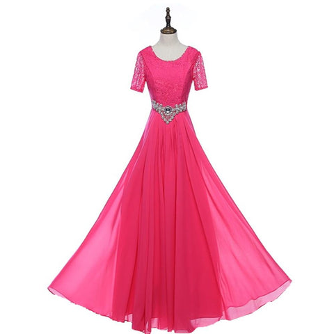 Lace Bodice Jeweled Waist Chiffon Overlay A-Line Evening Gown (US Sizes 2-20W) - PB and Apple Jelly