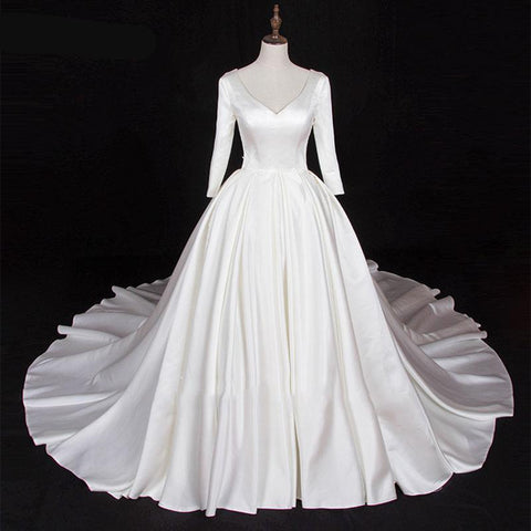 Lustrous Satin V-Neck Wedding Gown with Chapel Train (US Sizes 2-26W) - PB and Apple Jelly