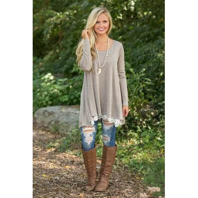 Lace-Lined Loose Tunic (US Sizes M-XXL)