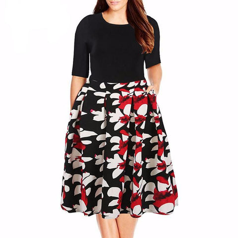 Flattering Floral Print A-line Dress With Pockets (US Sizes 14-26) - PB and Apple Jelly