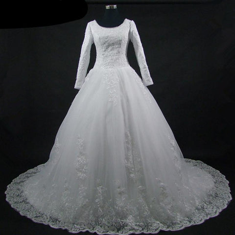 Rhinestone Scoop Neck Wedding Gown with Lace Overlay Train (US Sizes 2-18W) - PB and Apple Jelly