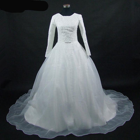 Lace Bodice Wedding Gown with Organza Overlay Train and Rhinestone Sash (US Sizes 2-18W) - PB and Apple Jelly