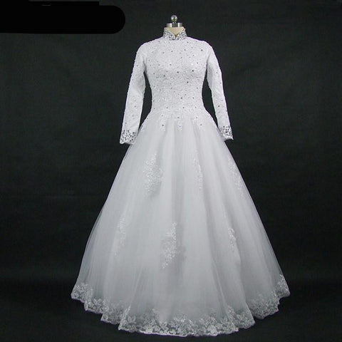 High Neck Beaded Lace Wedding Gown (US Sizes 2-16)