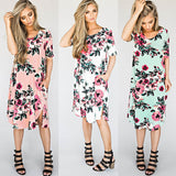 Soft Floral Loose Half-Sleeve Midi Dress with Side Slit and Pockets (US Sizes 2-18) - PB and Apple Jelly