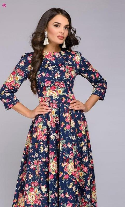 8b4995c46309 3 4 Sleeved Floral Flowy Long Dresses (US Sizes 2-18) – PB and Apple ...