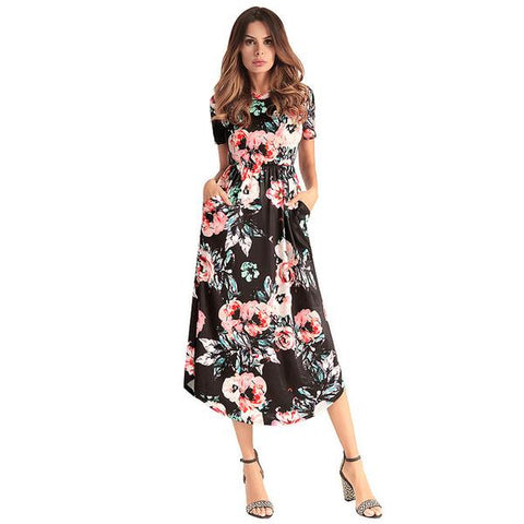 5 Colors Mid-Calf Short-Sleeved Soft Floral Dresses with Pockets (US Sizes 4-14) - PB and Apple Jelly
