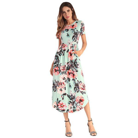 5 Colors Mid-Calf Short-Sleeved Soft Floral Dresses with Pockets (US Sizes 4-14+) - PB and Apple Jelly